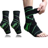 LUCOWEE Ankle Brace Plantar Fasciitis Compression Ankle Support Wrap 2 Packs Adjustable Sleeve Foot Socks for Running, Basketball, Volleyball, Sprained, Achilles Tendonitis Heel Pain Relief for Unisex