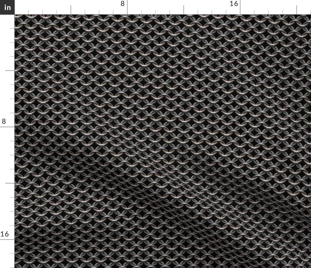 Spoonflower Fabric - Chainmaille Black Background Armor Printed on Petal Signature Cotton Fabric by The Yard - Sewing Quilting Apparel Crafts Decor