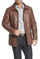 BGSD Men's Hunter Lambskin Leather Coat (Regular and Tall and Short Sizes)