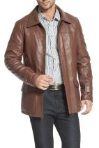 BGSD Men's Hunter Lambskin Leather Coat (Regular and Tall and Short Sizes)