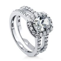 BERRICLE Rhodium Plated Sterling Silver Cushion Cut Cubic Zirconia CZ Halo Engagement Ring 2.4 CTW