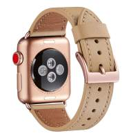 WFEAGL Compatible iWatch Band 42mm 44mm, Top Grain Leather Band with Gold Adapter (The Same as Series 5/4/3 with Gold Aluminum Case in Color) for iWatch Series 5/4/3/2/1 (42mm 44mm)