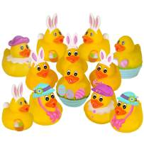Vlish Easter Rubber Ducks – Pack of 12, Assorted Yellow Bath Tub Duckies   Easter Egg Hunt Surprise Game Prize, Basket Stuffer, Spring Party Favors, Goodies Bag Supplies   Bunny Duckie
