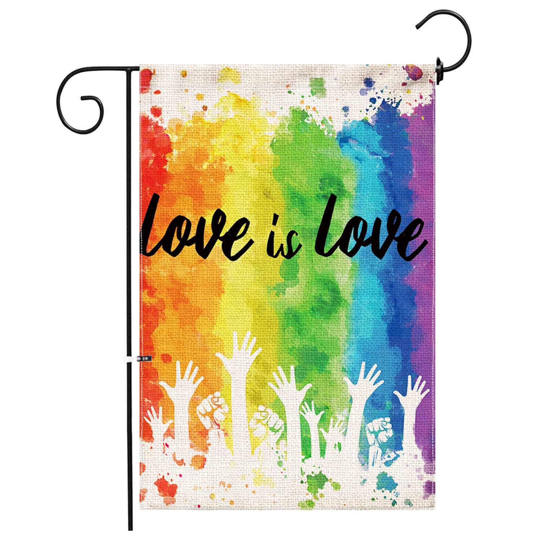 Hexagram Gay Pride Garden Flag,Burlap Double Sided Banner Yard LGBT Rainbow Flag,Outdoor Watercolor Splash LGBT Pride Decor Small Garden Flag 12x18 Prime