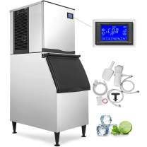 VEVOR 110V Commercial Ice Maker 400LBS/24H with 350LBS Bin, Full Clear Cube, LCD Panel, Stainless Steel Construction, Quiet Operation, Auto Clean, Air Cooling, Professional Refrigeration Equipment