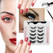 Magnetic Eyelashes with Eyeliner Kit,Upgraded 3D Natural Magnetic Eyelashes Set with Tweezers Applicator and 2 Waterproof Magnetic Eyeliners - No Glue Needed