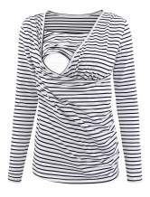 Ecavus Women's Ruched Side-Shirred Nursing Top Short Long Sleeve Breastfeeding Tee Shirt