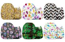 Mama Koala One Size Baby Washable Reusable Pocket Cloth Diapers, 6 Pack with 6 One Size Microfiber Inserts (A Cute Mess)