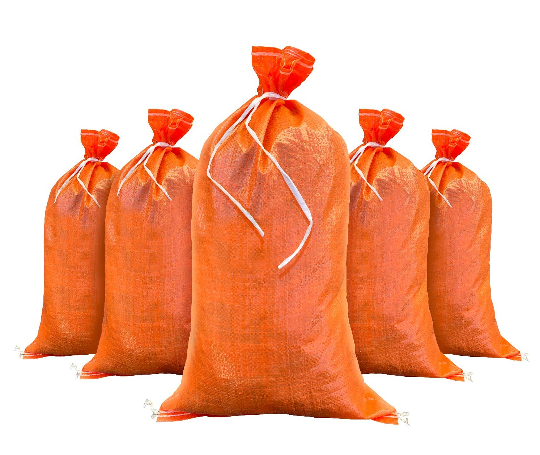 Sandbags for Flooding - Size: 14 Inch x 26 Inch - Orange - Sand Bag - Flood Water Barrier - Water Curb - Tent Store Bags by Sandbaggy (5 Orange Sandbags)