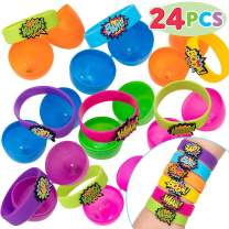 24 PCS Toys Prefilled Easter Eggs with Superhero Rubber Bracelets for Easter Basket Filler, Easter Eggs Hunt Filler Stuffer Party Favors