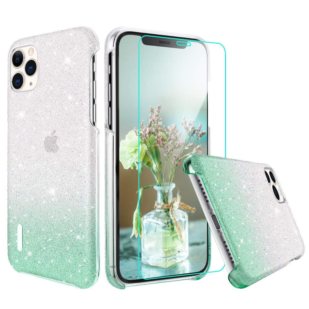 VEGO Compatible for iPhone 11 Pro Glitter Case, iPhone 11 Pro Bling Case Crystal Rhinestones Sparkly Diamond Shiny Ombre Hard PC with Screen Protector Case for Girl Women 5.8 inch(Gradient Green)