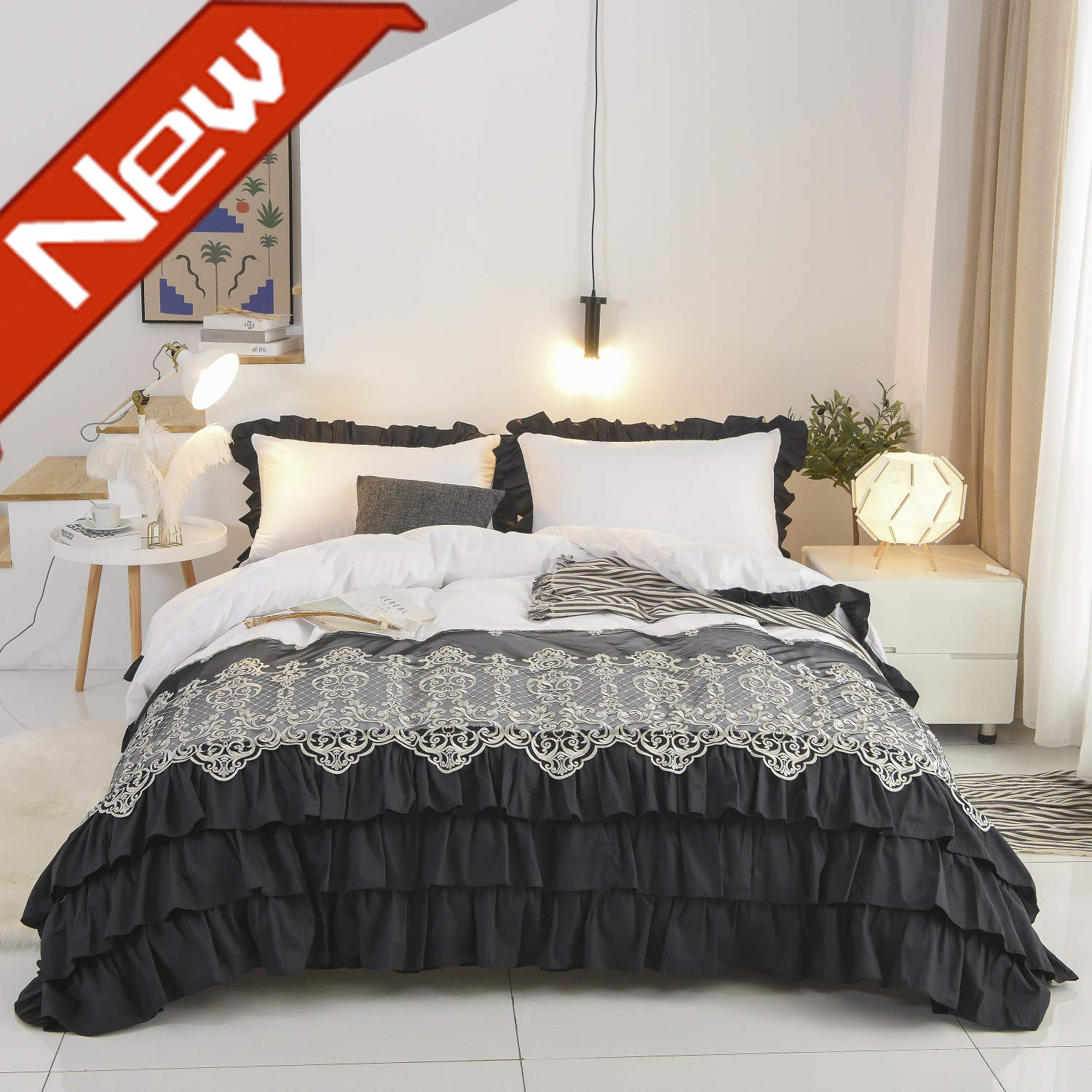 Fadfay Black And White Luxury Lace Chic Bedding Set With Waterfall Ruffle 100 Cotton Extra Soft Duvet Cover Set Full Size Reversible Hypoallergenic With Hidden Zipper Closure 3 Pieces