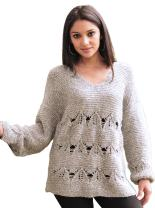 Gamboa - 100% Alpaca - Rustic Sweater - for Women - Gray with Long Sleeves
