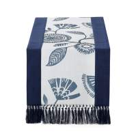 15 x 90 inch Rustic Woven Table Runner with Handmade Fringe, Buffalo Checks Burlap Dining Table Runners for Family Dinner, Farmhouse Decorations - Navy Printed