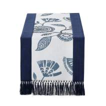 15 x 108 inch Rustic Woven Table Runner with Handmade Fringe, Buffalo Checks Burlap Dining Table Runners for Family Dinner, Farmhouse Decorations - Navy Printed