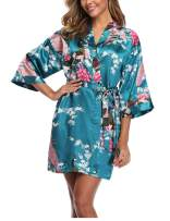 Women's Kimono Robe Satin Printing Peacock Blossoms Short Floral Bridesmaids Robe Nightgown Sleepwear for Wedding Party Gift