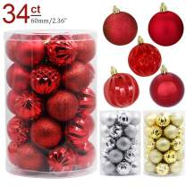 Lulu Home Christmas Ball Ornaments, 34 Pack Xmas Tree Decorations Hanging Balls Red 2.36''