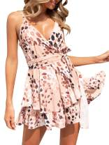 Glamaker Women's Casual Summer V Neck Sleeveless Spaghetti Strap Ruffle Floral Chiffon Rompers Short Jumpsuits with Belt