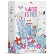 First Aid Beauty All You Need is FAB Kit: Pure Skin Face Cleanser (5 oz), Coconut Water Cream (0.34 oz), Ultra Repair Hydrating Serum (1 oz), and Facial Radiance Pads (28 ct)
