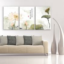 "wall26 - 3 Panel Canvas Wall Art - Chinese Ink and Wash Painting Style Lotus Flowers - Giclee Print Gallery Wrap Modern Home Decor Ready to Hang - 24""x36"" x 3 Panels"
