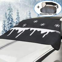 Big Hippo Windshield Snow Cover + Bonus Side Window Snow Cover Keeps Ice & Snow Off, Thickened Car Snow Cover & Sun Shade Protector Fits Most Car, SUV, Truck, Van