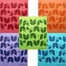 Geometric Flowers Set of 5 Cloths (one of Each Color) Swedish Dishcloths   ECO Friendly Absorbent Cleaning Cloth   Reusable Cleaning Wipes