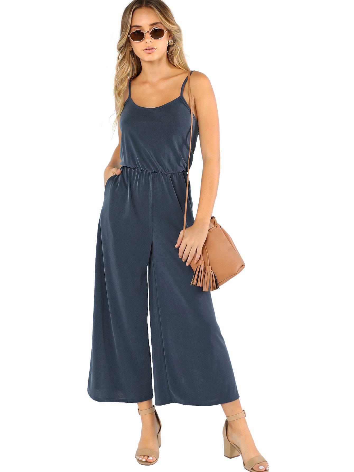 DIDK Women's Spaghetti Strap Flare Wide Leg Cami Culottes Jumpsuits