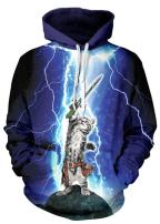 NEWCOSPLAY Unisex Realistic 3D Digital Print Pullover Hoodie Hooded Sweatshirt Lightning Cat 2