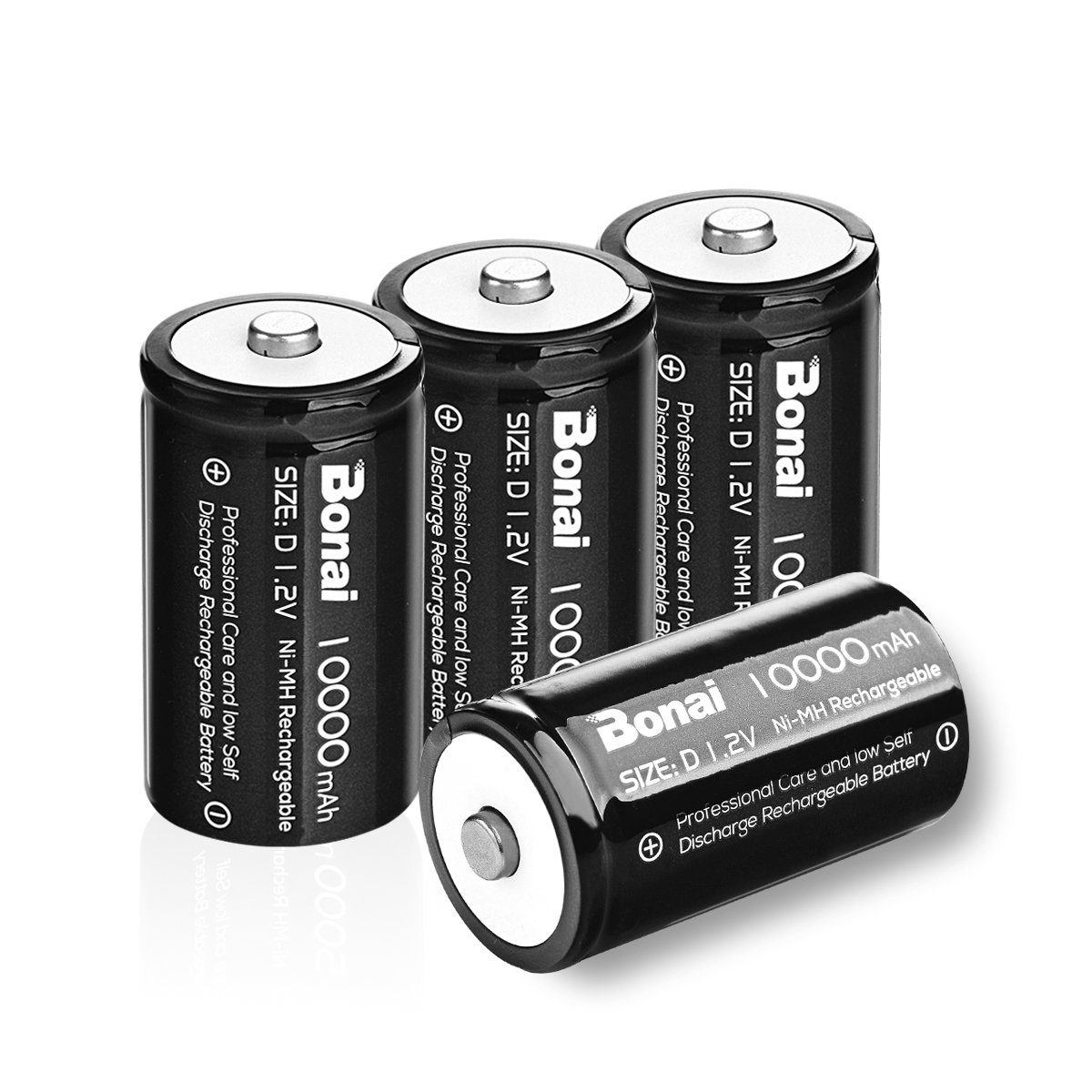 BONAI Rechargeable D Cells 10,000mAh 1.2V Ni-MH High Capacity High Rate D Size Battery (4-Counts)
