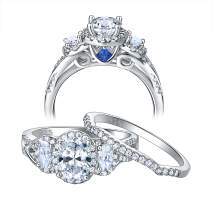 Newshe Wedding Rings for Women Engagement Ring Set 925 Sterling Silver Oval Cz 3.5Ct Blue Size 5-10