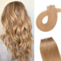 S-noilite 20Pcs 60g Remy Tape in Hair Extensions Human Hair Seamless Skin Weft Invisible Double Sided Glue in hair for women Silky Straight 14Inch #27 Dark Blonde Color