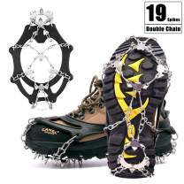 19 Spikes Crampons for Hiking Boots Shoes, Stainless Steel Ice Snow Cleats Spikes Crampons, Crampons Traction Cleats Ice Snow Grips for Men Women Walking Hiking on Snow Ice(Fit M/L Shoes/Boots)