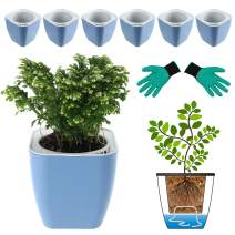 DeEFL 6 Packs 5 Inches Self Watering Planters Plastic Self Watering Pots Wicking Flower Pots for Indoor Plants, African Violet, Ocean Spider Plant, Orchid, Blue