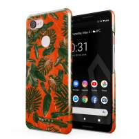 BURGA Phone Case Compatible with Google Pixel 3 - Neon Orange Palm Trees Leafs Tropical Exotic Summer Green Palms Cute Case for Women Thin Design Durable Hard Plastic Protective Case