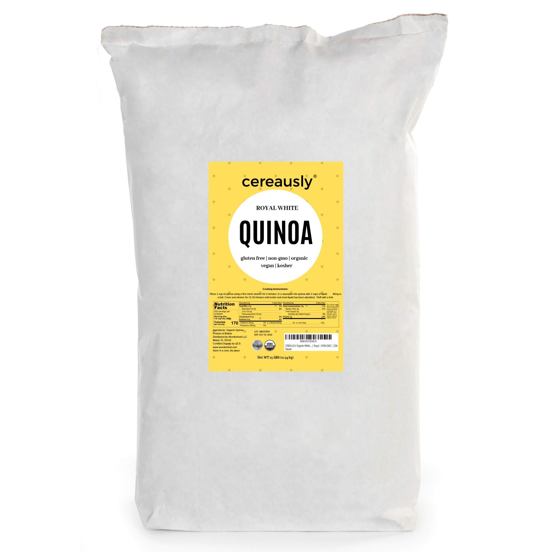 CEREAUSLY Organic White Quinoa in Bulk | 25 Lb | Restaurants | Wholesale | Bolivian | Royal | NON-GMO | Kosher | Gluten-Free | Vegan