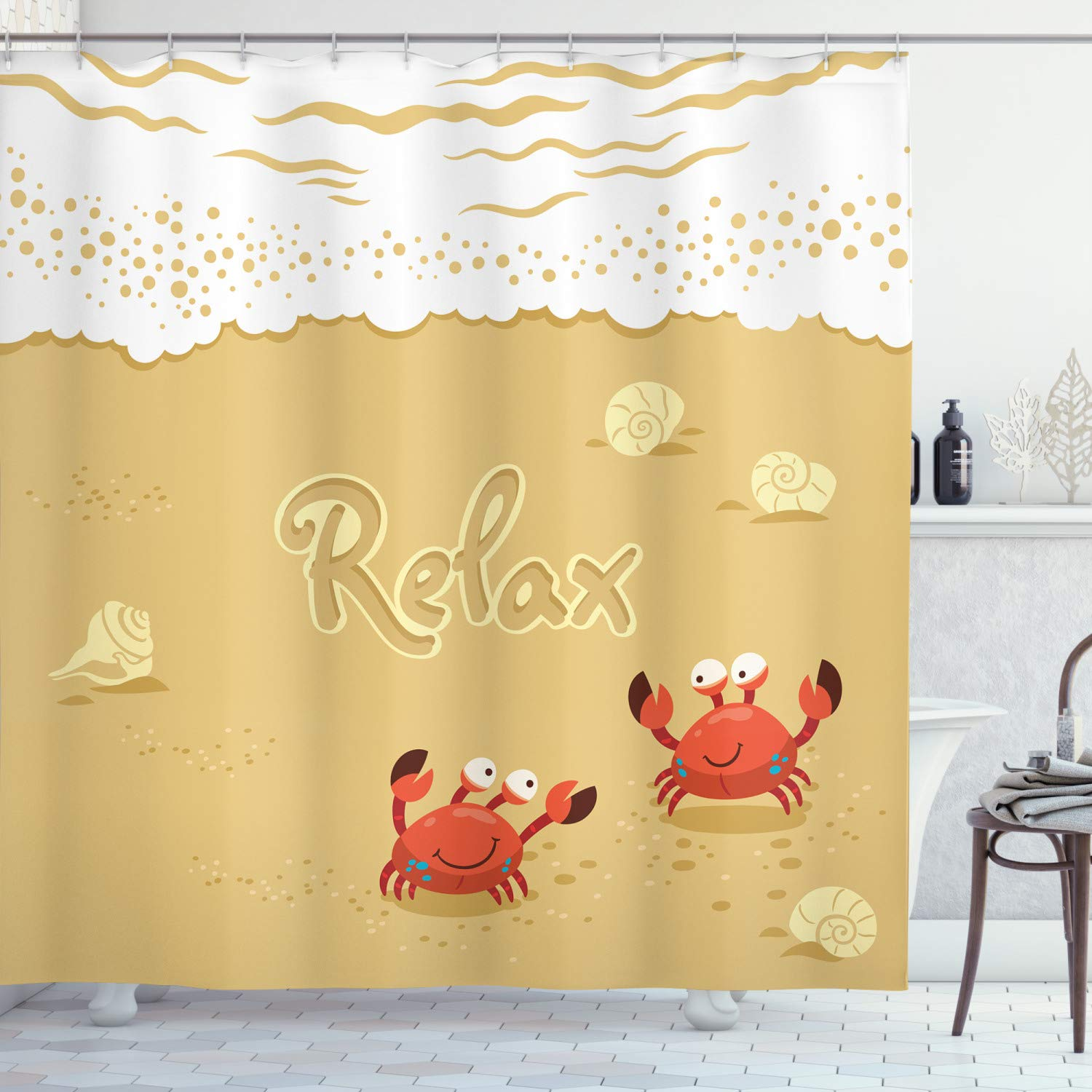 "Ambesonne Crabs Shower Curtain, Funny Summer Card with Crabs on The Beach Holiday Vacation Theme Print, Cloth Fabric Bathroom Decor Set with Hooks, 84"" Long Extra, Brown White"