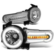 DNA MOTORING Pair LED DRL+Sequential Chasing Turn Signal Headlight Lamps Set