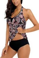 Vegatos Women's Halter Tankini Swimsuit Backless Two Piece Bathing Suit Swimwear