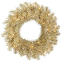 "Vickerman White/Gold Tinsel Artificial Wreath with 100 Clear Mini-Lights, 36"", White/Gold"
