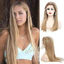 """Ombre Balayage Highlighted Lace Front Human Hair Wig Pre Plucked Golden Brown with Blonde Highlights 150% Density Straight Brazilian Remy Human Hair Glueless Lace Wig Full Head for White Women 16"""""""