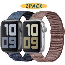 UHKZ Compatible with Apple Watch Band 38mm 40mm 42mm 44mm,Lightweight Breathable Nylon Replacemen Wristband for Iwatch Series 5,Series 4,Series 3,Series 2,Series 1-2pack