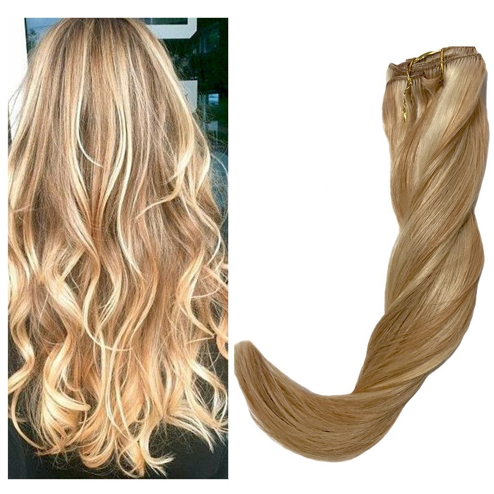 120g Remy Clip in Hair Extensions bayalage highlights Real Human Hair Extensions Silk Straight for Women 7PCS Per Set, 40cm 45cm 50cm 55cm with Different Colors(55cm, No.27/613 Mixed Blond)22inch