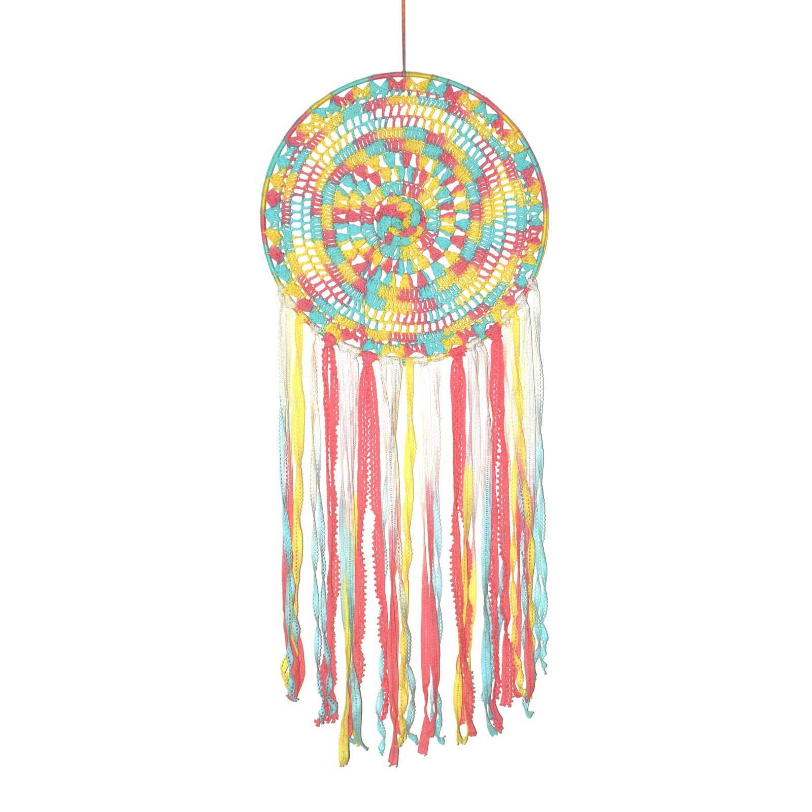Asian Hobby Crafts Macrame Handcrafted Dream Catcher Wall Hanging – Multicolored Crochet Boho Style for Room Decor, Nursery Decor, Baby Shower, Gifting, Size – 28 x 12 inches (L x Dia)