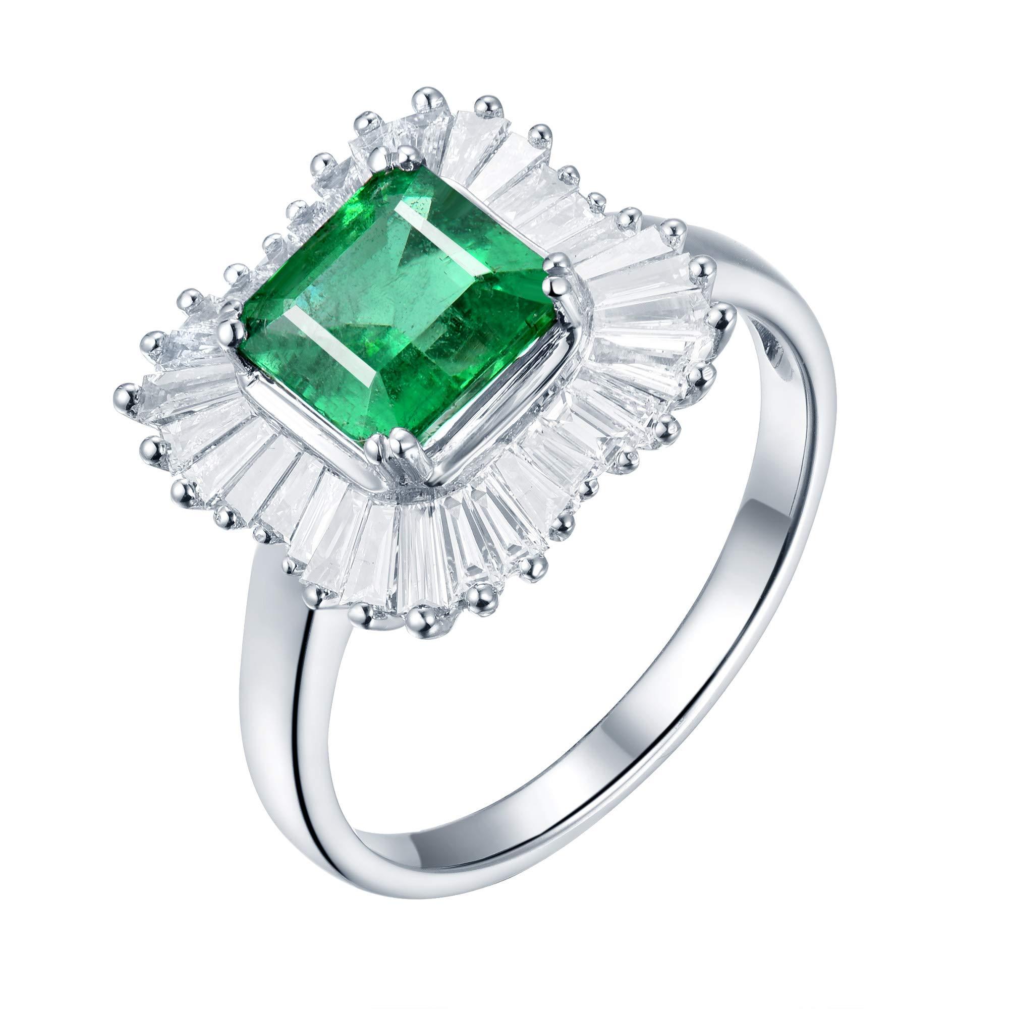 Lanmi Beautiful Natural Green Real Emerald Diamonds Engagement Ring Solid 14K White Gold Wedding Rings for Ladies Women