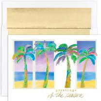 Masterpiece Warmest Wishes 18-Count Christmas Cards, Palm Trio