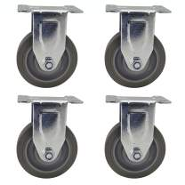Dr.Luck 4-Inch Gray Elastic Thermoplastic Rubber(ETR) & Steel Non-Swivel Caster Wheel Without Brake, Fixed Top Plate with Polyurethane Foam No Noise Wheels Heavy Duty Total Capacity 1120 Lbs Set of 4