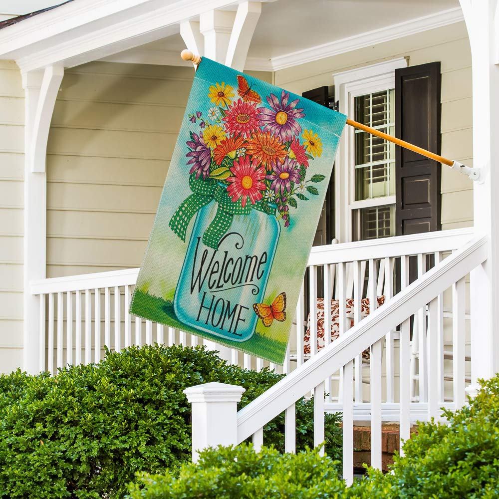 DOLOPL Summer Welcome Home House Flag 28x40 Inch Double Sided Verticle Decorative Watercolor Bottle of Daisies Flowers Butterfly Seasonal Yard House Flag for Spring Summer Outdoor Indoor Decoration