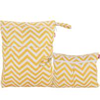 Damero 2pcs Travel Wet and Dry Bag, Reusable Wet Bags Organizer with Two Zippered Pocket for Cloth Diaper, Pumping Parts, Swimsuit and Gym, Yellow Chevron