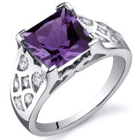 Simulated Alexandrite Ring Sterling Silver 3.00 Carats Sizes 5 to 9