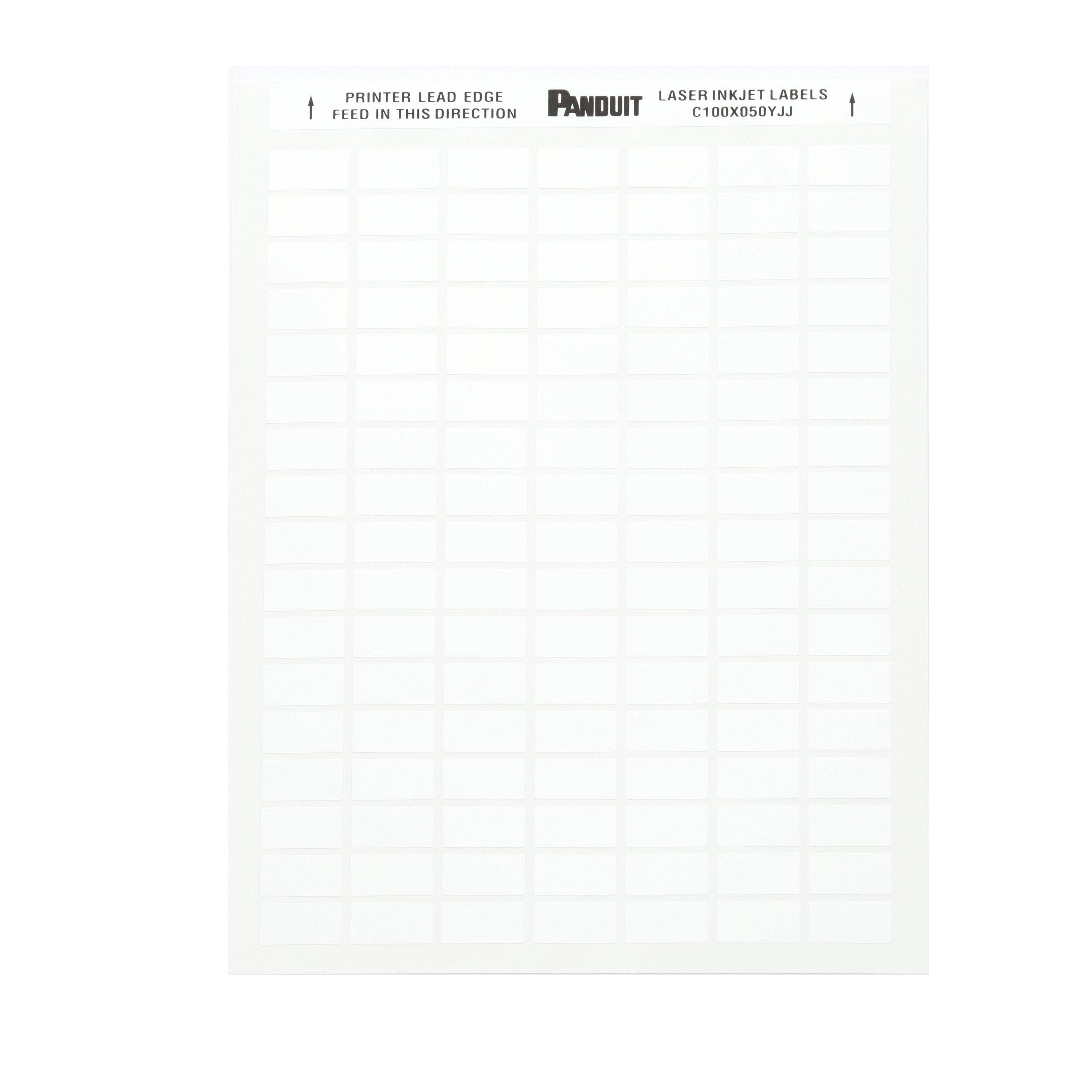 Panduit C075X025YJJ Laser/Ink Jet Label,  Adhesive Polyester, White (10,000-Pack)